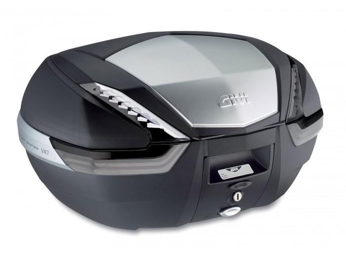 Kufer Givi V47NT (czarny, 47 litrów, szare odblaski, pokrywa aluminiowa)