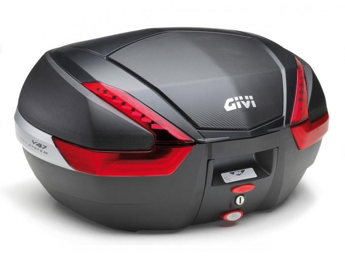 Kufer Givi V47NN (czarny, 47 litrów, czerwone odblaski, pokrywa karbonowa)